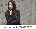 portrait of beautiful smiling... | Shutterstock . vector #744927721