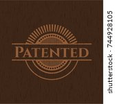 patented retro wood emblem | Shutterstock .eps vector #744928105