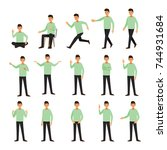 set of a guy in casual clothes... | Shutterstock .eps vector #744931684