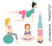 pregnancy sport fitness people... | Shutterstock .eps vector #744931717