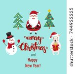 merry christmas and happy new... | Shutterstock .eps vector #744933325