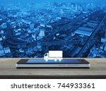 truck flat icon on modern smart ... | Shutterstock . vector #744933361