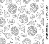 vector seamless pattern with... | Shutterstock .eps vector #744934354