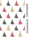 christmas tree seamless pattern | Shutterstock .eps vector #744936604