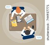 medical consultaton at office... | Shutterstock .eps vector #744937771