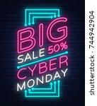 cyber monday vector banner in... | Shutterstock .eps vector #744942904