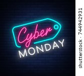 cyber monday concept banner in... | Shutterstock .eps vector #744942931