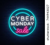 cyber monday  discount sale... | Shutterstock .eps vector #744943027