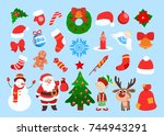 Funny Christmas Stickers. Sant...