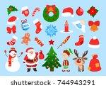 funny christmas stickers. santa ...   Shutterstock .eps vector #744943291