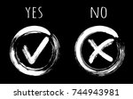 painted white symbolic ok and x ...   Shutterstock .eps vector #744943981