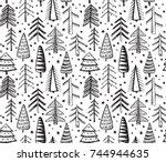 black and white seamless... | Shutterstock .eps vector #744944635