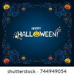 happy halloween. greeting card. ... | Shutterstock . vector #744949054