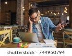 freelancer having problems... | Shutterstock . vector #744950794