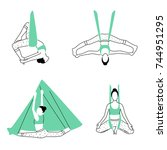 set of aerial  fly yoga poses.... | Shutterstock .eps vector #744951295