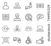 thin line icon set   man ... | Shutterstock .eps vector #744951529