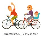 sportive family rides bicycles... | Shutterstock .eps vector #744951607