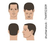 man hairstyle head set  front ... | Shutterstock . vector #744952309