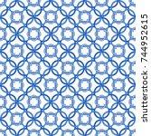portuguese tiles  quatrefoil... | Shutterstock .eps vector #744952615