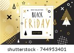 black friday sale poster.... | Shutterstock .eps vector #744953401