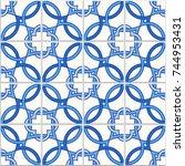 portuguese tiles  quatrefoil... | Shutterstock .eps vector #744953431