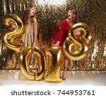 full length portrait of two... | Shutterstock . vector #744953761
