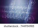 3d abstract futuristic fintech... | Shutterstock . vector #744954985