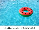 watermelon pool float  ring... | Shutterstock . vector #744955684