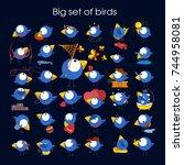 cute birds in vector. cartoon...   Shutterstock .eps vector #744958081