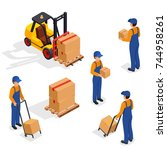 forklift truck with delivery... | Shutterstock . vector #744958261
