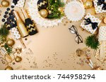 christmas decoration background ... | Shutterstock . vector #744958294