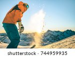 expert professional skier at... | Shutterstock . vector #744959935