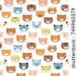 seamless vector pattern with... | Shutterstock .eps vector #744960379