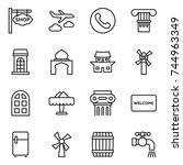 thin line icon set   shop... | Shutterstock .eps vector #744963349