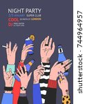 colorful flyer or night club... | Shutterstock .eps vector #744964957