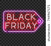black friday price tag neon... | Shutterstock .eps vector #744967171