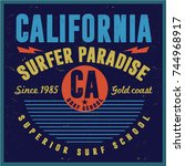 vintage surfing graphics and... | Shutterstock .eps vector #744968917