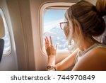 young woman enjoying the view...   Shutterstock . vector #744970849