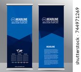 roll up business brochure flyer ... | Shutterstock .eps vector #744971269