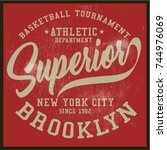 vintage varsity graphics and... | Shutterstock .eps vector #744976069