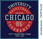 vintage varsity graphics and... | Shutterstock .eps vector #744976129