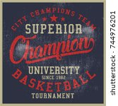 vintage varsity graphics and... | Shutterstock .eps vector #744976201