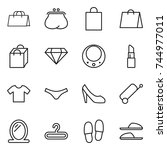 thin line icon set   shopping... | Shutterstock .eps vector #744977011