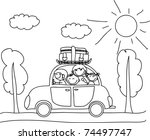 happy family going on holiday... | Shutterstock .eps vector #74497747