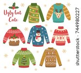 cute set of christmas sweaters. ... | Shutterstock .eps vector #744980227