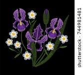 Iris Flowers With Chamomile...