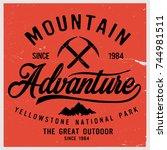 vintage vector of wilderness... | Shutterstock .eps vector #744981511