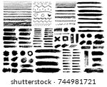 painted grunge stripes set.... | Shutterstock .eps vector #744981721