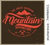 vintage vector of wilderness... | Shutterstock .eps vector #744984511