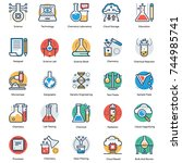 science and technology icons... | Shutterstock .eps vector #744985741